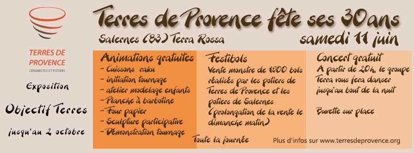 Terres de Provence fête ses 30 ans Musée Terra Rossa de Salernes (Var) le samedi 11 juin