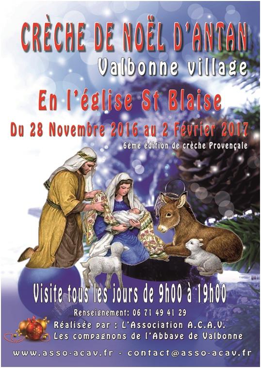 Foire aux santons de Valbonne (Alpes Maritimes) est exposition de crèche à l'Eglise St Blaise - 2016