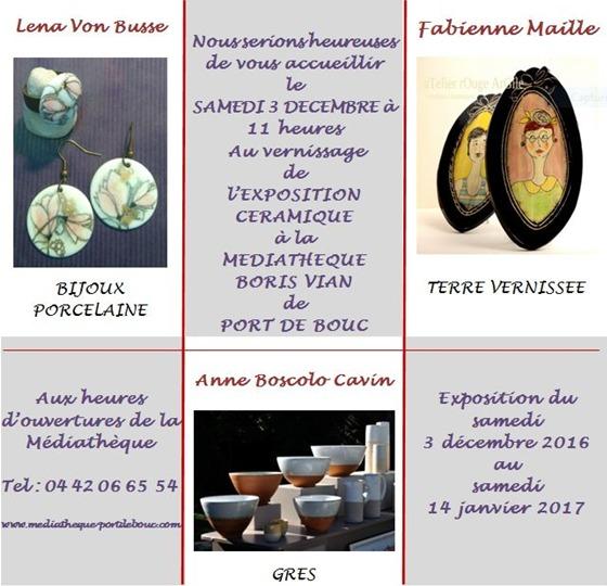 Exposition-vente céramique à Port de Bouc (Bouches du Rhône) du 3 décembre 2016 au 14 janvier 2017