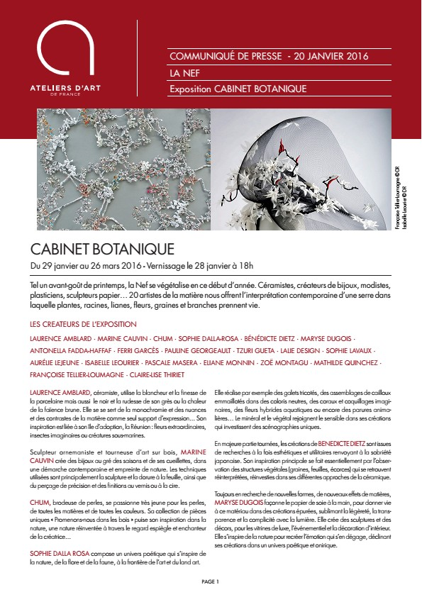 Exposition Cabinet botanique, La Nef de Montpellier 2016 - communiqué de presse - Ateliers d'Art de France