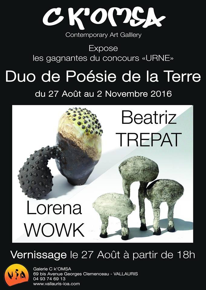 Exposition céramique Duo de poésie de la terre - Galerie C K'Omsa Vallauris - 27 août-20 novembre 2016