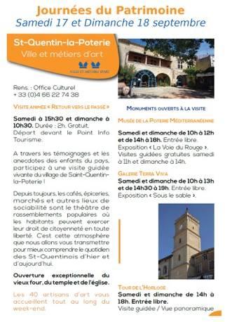 journées du Patrimoine à St Quentin la Poterie (Gard) les 17 et 18 septembre 2016