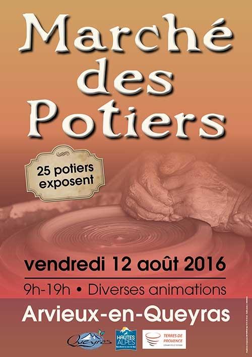 Marché potier d'Arvieux en Queyras (Hautes Alpes) le vendredi 12 août 2016