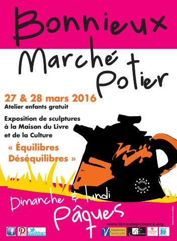 Marché potier de Bonnieux en Lubéron (Vaucluse) les 27 et 28 mars 2016