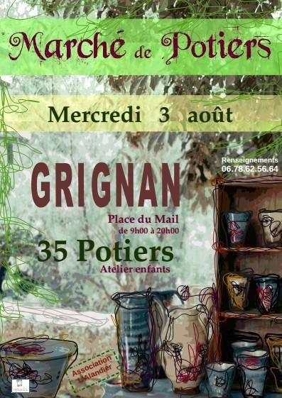 Marché potier de Grignan (Drôme) le 3 août 2016 - céramique et poterie