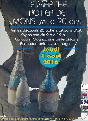 Marché potier de Mons (Alpes Maritimes) le 4 août 2016