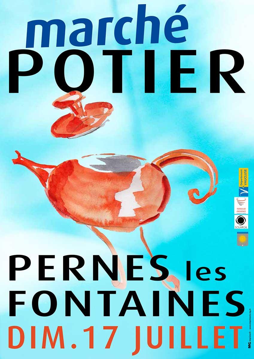 Marché potier de Pernes les Fontaines (Vaucluse) le dimanche 17 juillet 2016 - Céramique et poterie