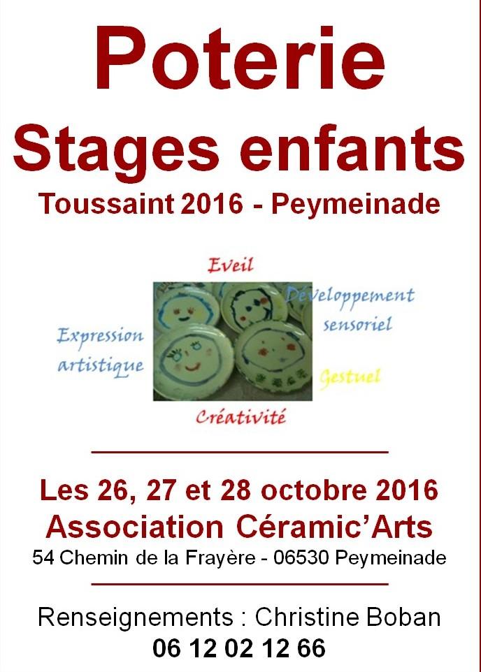 Stages de poterie enfants, Toussaint 2016 à Peymeinade (Alpes Maritimes)