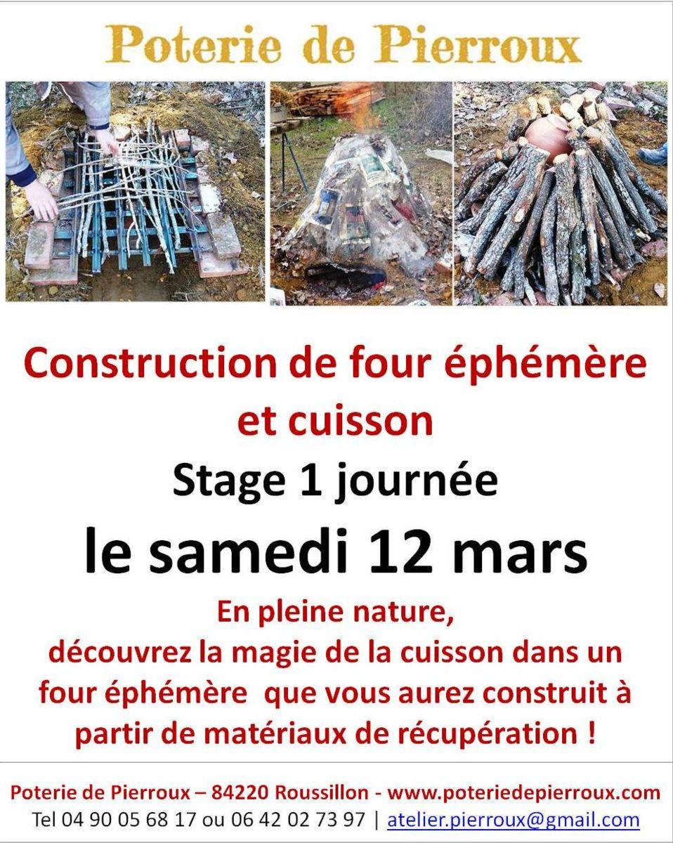 Poterie de Pierroux à Roussillon (84) stage de construction d'un four éphémère et cuisson le 12 mars 2016