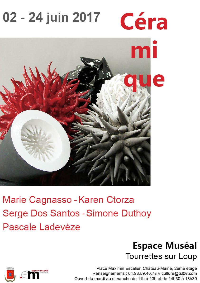 Exposition céramique, Espace Muséal de Tourrettes sur Loup (Alpes Maritimes) du 2 au 24 juin 2017