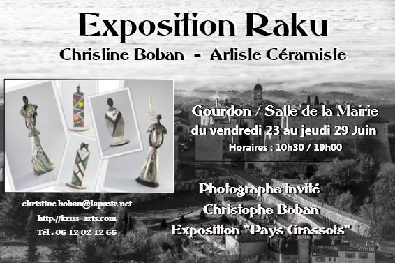 Exposition Céramique raku, Christine Boban, à Gourdon (Alpes Maritimes) du 23 au 29 juin 2017