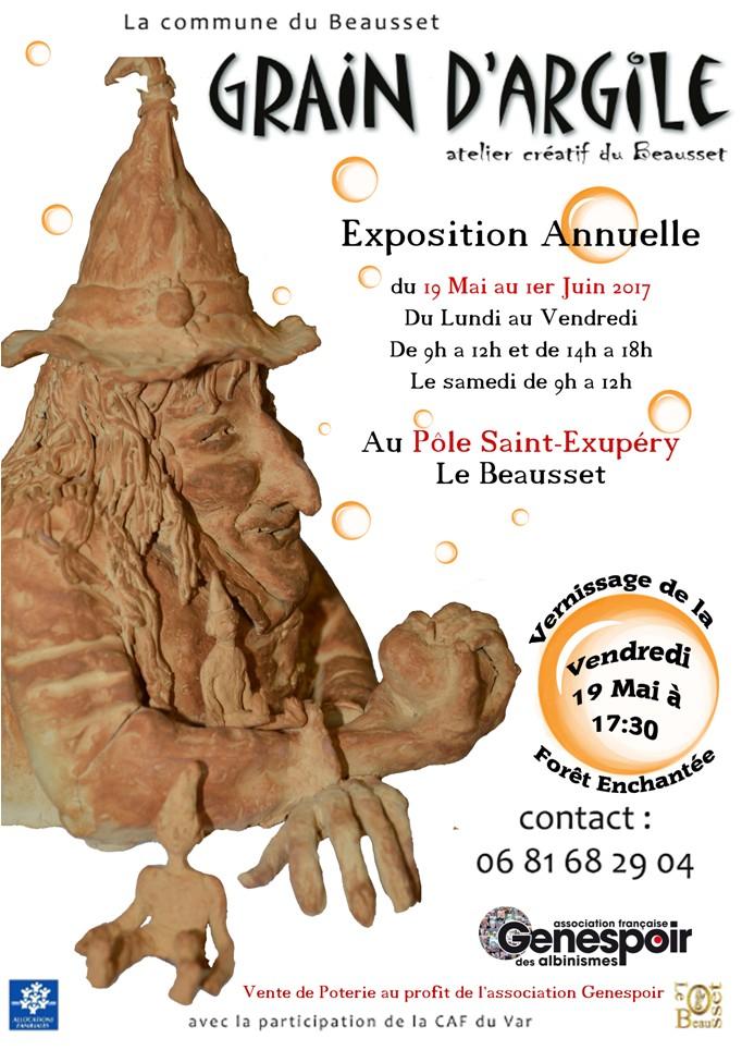 Exposition- vente Grain d'Argile au Pôle Saint-Exupry du Beausset (Var) - du 19 mai au 1er juin 2017