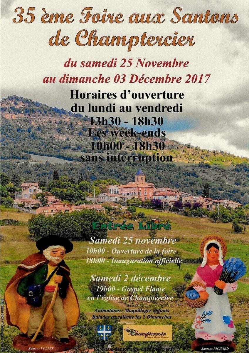 Foire aux santons de Champtercier (Alpes de Haute Provence) du 25 novembre au 3 décembre 2017