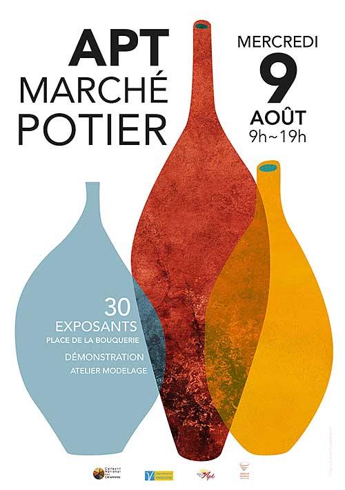 Marché potier d'Apt (Vaucluse) le mercredi 9 août 2017