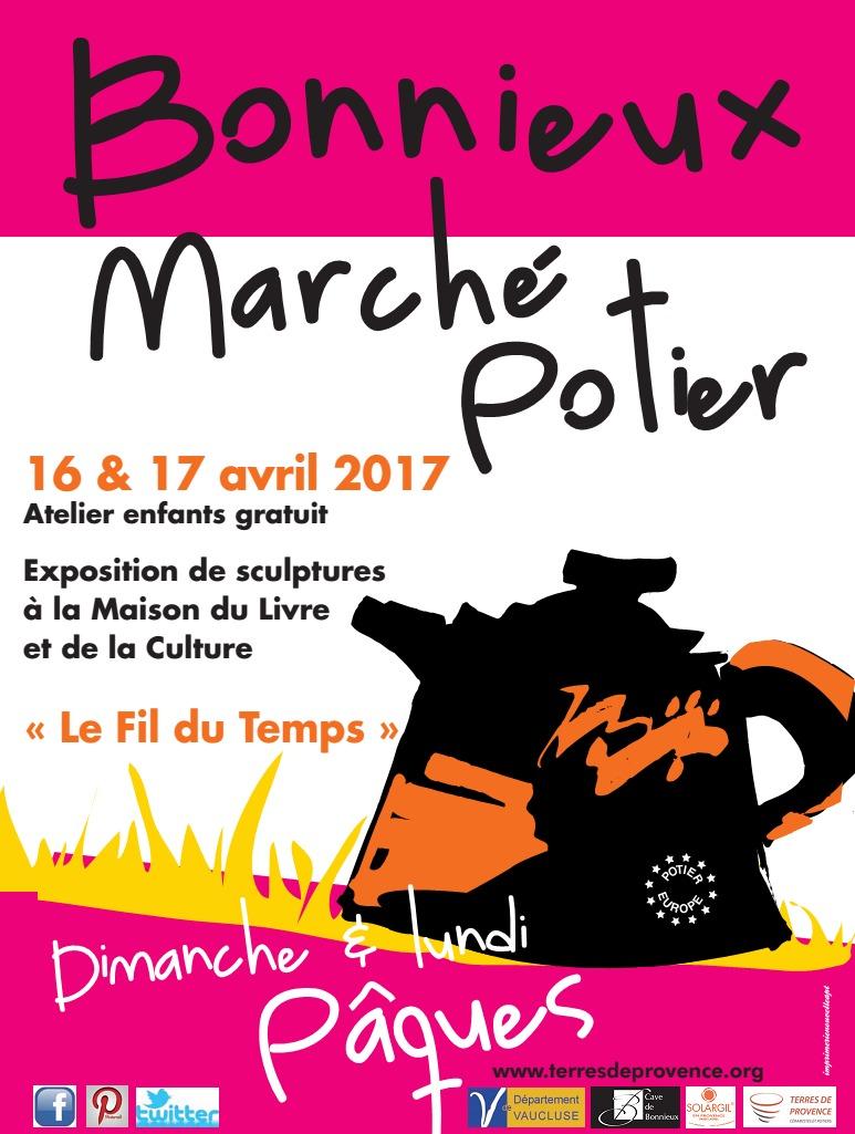 Marché Potier de Bonnieux (Vaucluse), dimanche 16 et lundi 17 avril 2017 - Céramique et poterie