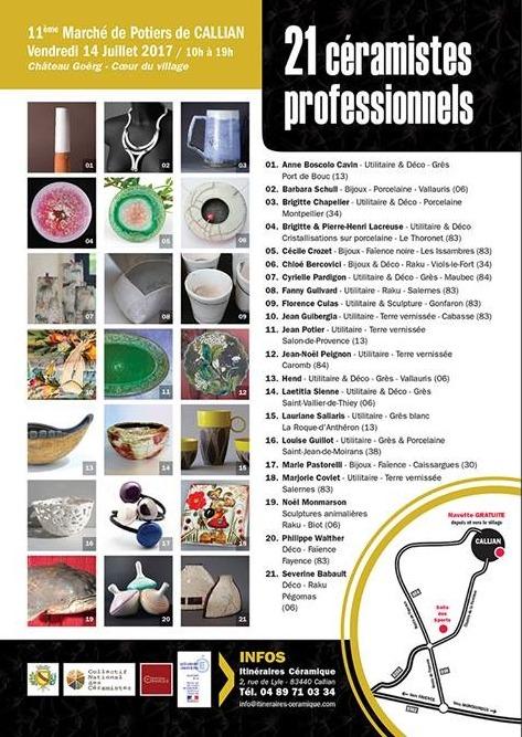 Marché potier de Callian (Var) le 14 juillet 2017 - céramique, exposition, ventes et ateliers de démonstrations