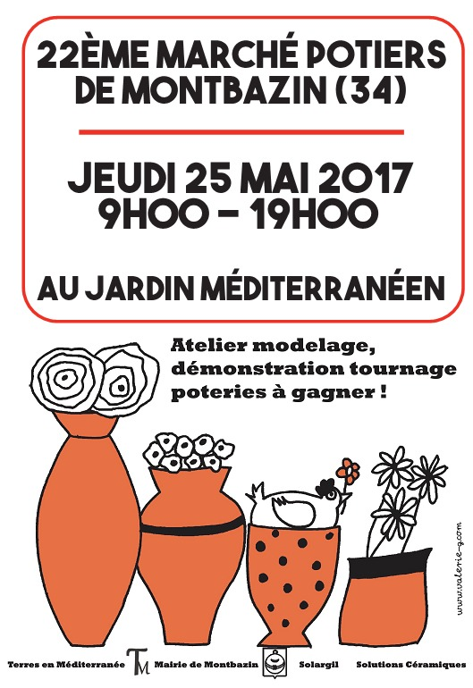 Marché potier de Montbazin (Héralut) le 25 mai 2017 - céramique et poterie