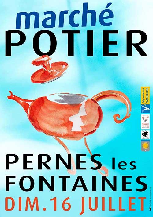 Marché potier de Pernes les Fontaines (Vaucluse) le 16 juillet 2017 - ceramique et poterie