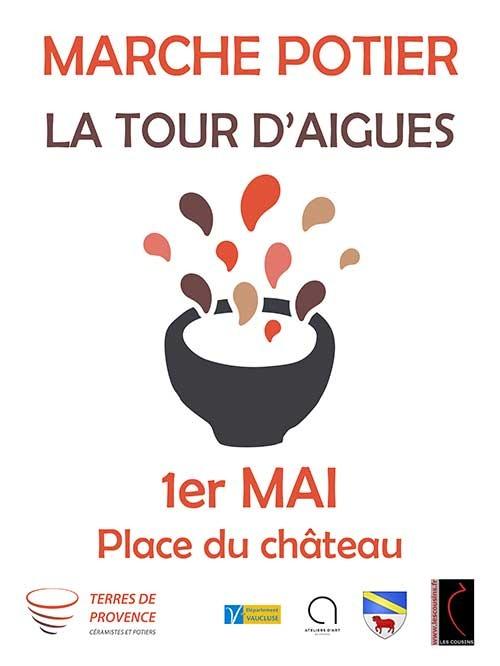 Marché potier de la Tour d'Aigues (Vaucluse) le 1er mai 2017 - céramique et poterie en Lubéron