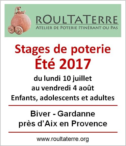 Stages de poterie, vacances d'été à Gardanne, tout public, du 10 juillet au 4 août 2017 - modelage, loisirs créatifs