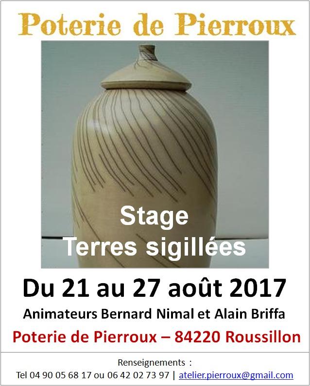 Stage poterie terres sigillées - Poterie de Pierroux, Roussilon en Vaucluse du 21 au 27 août 2017