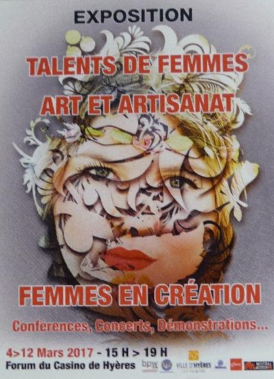 Talents de Femmes - Art et Artisanat Femmes en Création à Hyères (Var) du 4 au 12 mars 2017