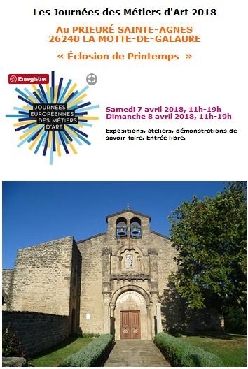 Journées des Métiers d'Art 2018 au Prieuré St Agnès (Drôme), Eclosion de Printemps les 7 et 8 avril