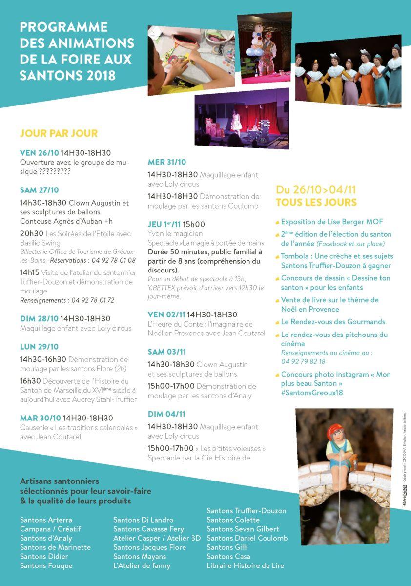 Foire aux santons Greoux les Bains 2018, programme