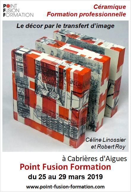 Formation céramique, la technique du transfert d'images du 25 au 29 mars 2019 à Cabrières (Vaucluse) Point Fusion Formation