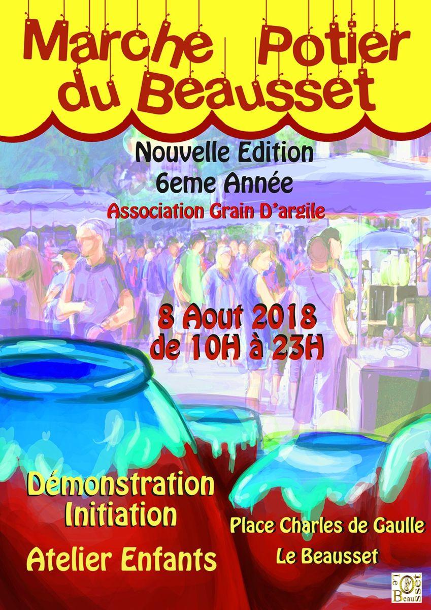 Marché potier du Beausset (Var) le 8 août 2018