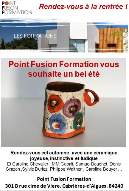 Point Fusion Formation céramique, le programme de la rentrée 2018