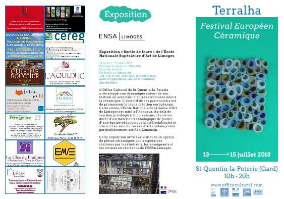 Terralha, Festival européen des Arts céramiques à Saint Quantin la Poterie (Gard) du 13 au 15 juillet 2018