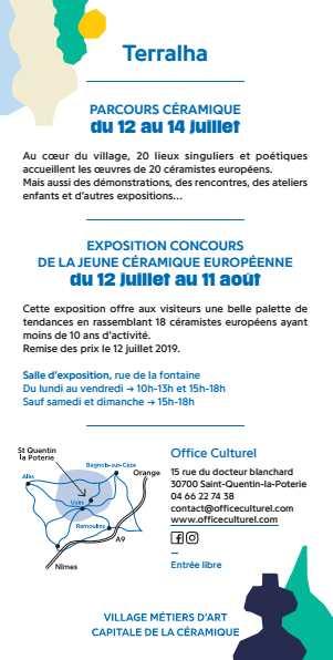 TERRALHA, Festival Européen céramique 2019 à St Quentin la Poterie (Gard), du 12 au 14 juillet
