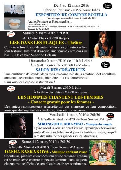 Femmestival, Culture Provence Verdon - Salon des créatrices dimanche 6 mars 2016