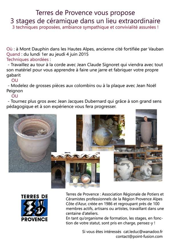 Stage céramique GROSSES PIECES à Mont-Dauphin du 1 er au 4 juin 2015 - Terres de Provence